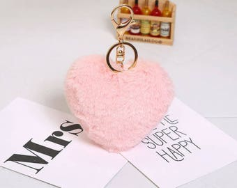 Fur heart keychain, planner pendant.
