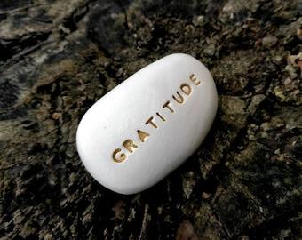 GRATITUDE - Ceramic Message Pebble