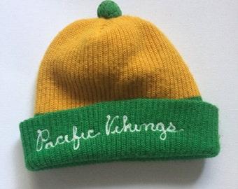 Vintage Beanie 1950's 'Pacific Vikings' vintage wool watch cap college beanie yellow green