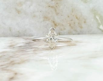 14K White Gold 1.0ct Marquise Cut Diamond Dainty Solitaire Engagement Ring
