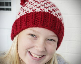 Girls Knit Hearts Pompom Hat, Chunky Fair Isle Hat,  Chunky Winter Beanie, Chunky Knitted Pom Hat, Red Hat for Girls