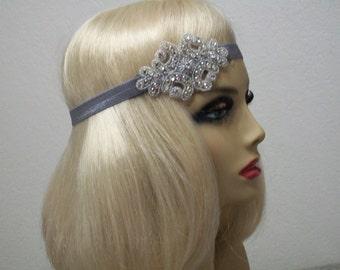 Great Gatsby headpiece, 1920s headband, Flapper headpiece, Gatsby headband, Rhinestone headband,  Flapper costume, 1920s hair accessory