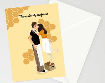 Pushing Daisies 'you're the only one for me' A6 card
