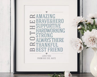 Brother Gift Birthday Gift for Brother Christmas Gift for Brother Brother Sign Big Brother Gift Gifts for Brother from Sister