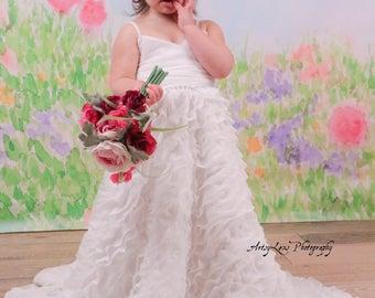 White bridal chiffon flower girl dress, white ruffled chiffon junior bridesmaid dress, ivory chiffon gown, white chiffon flower girl dress