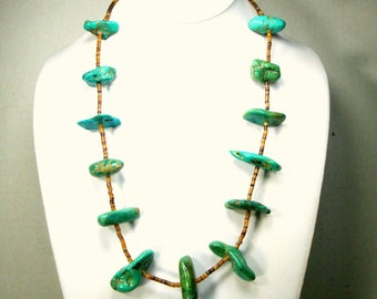 Vintage Turquoise Nugget Heishi Necklace with Real Southwestern American USA Stone & Brown Shell Heishi Beads 1970s