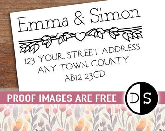 "Return Address Stamp or Labels, Acrylic Mount Stamp, Personalized Wedding Address Stamp, Floral Address Stamp, 3""x2"" (cas123)"