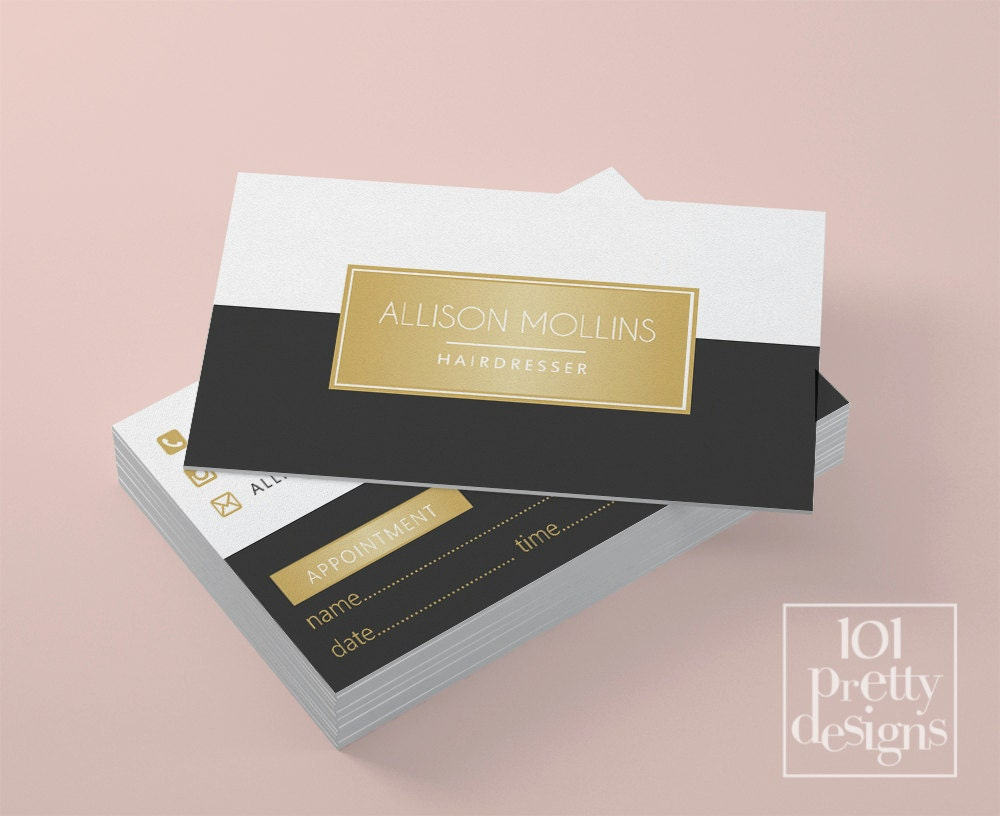 Modern business card template gold printable business card