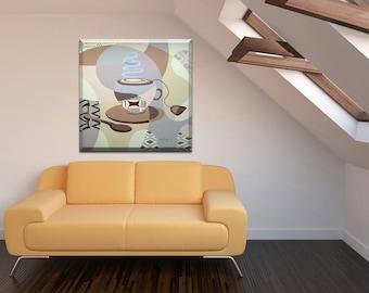 Tea Painting, Tea Art, Abstract Canvas Art, Abstract Painting Original, Acrylic Painting, Dinning Room Wall Decor, Original Kitchen Painting
