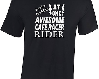 Awesome Cafe Racer   Rider   T shirt  Funny Ideal Gift Biker personalised