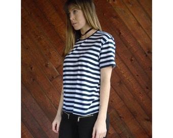 80s Navy Stripe s/s Tee Shirt - Vintage - S/M