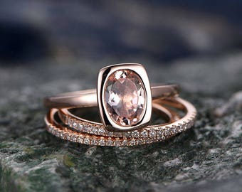 3pcs 6x8mm oval Morganite engagement ring set-Solid 14k Rose gold ring wedding set-Real Diamond matching band-Bezel set solitaire ring