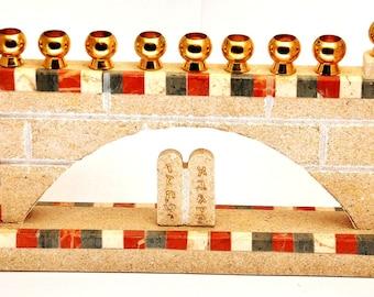 Menoraha ( Hanukia ) Made in Jerusalem Three Colors Marble Stones