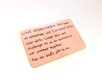 Wallet Insert Copper Card - Personalized Hand Stamped Metal - Gift Husband Boyfriend 7 Seven Year Anniversary