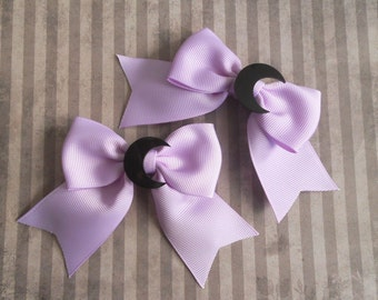 Black moons on small ribbon hair bow set pastel goth fairy kei