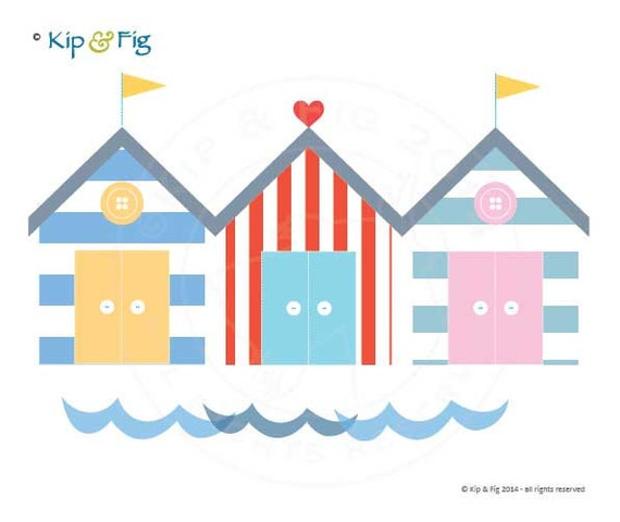 Beach Hut Machine Embroidery Design: Beach Hut Applique Template PDF Applique Pattern