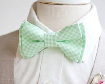 Bow Tie, Mens Bow Tie, Bowtie, Bowties, Bow Ties, Bowties, Mint Bow Tie, Groomsmen Bow Ties, Wedding Bow Ties, Ties - Mint Green Gingham