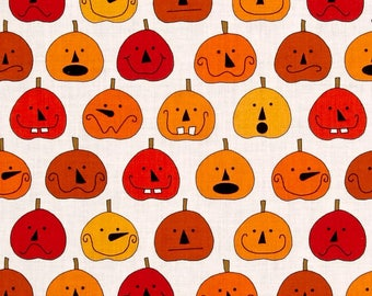 Pumpkins on White from Andover Fabric's Fright Night Collection - Halloween Fabric