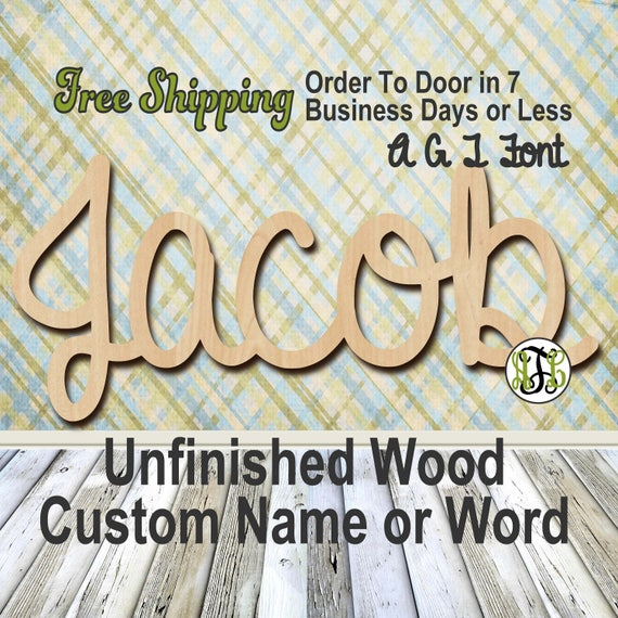 Unfinished Wood Custom Name or Word AGT Font, wood cut out, Script, Connected, wood cutout, wooden sign, Nursery, Wedding, Birthday