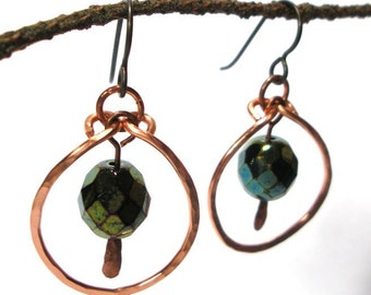 Green Iridescent Disco Beads in Handmade Copper Hoops Earrings