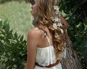 Starfish Head Crown, Beach Wedding Headband, Bridal Headband, Flower Headband, Seashell Hair Accessory, Hair Flower Garland, Wedding Crown
