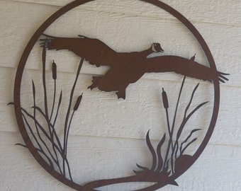"""Geese #2 and Cattails Rustic Decor 24"""" custom garden art Rustic Flying Geese Metal ducks"""