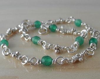 Green Agate Link Bracelet - Sterling Silver - Knot Links - Rustic Organic Handmade Chain - Linked Bracelets - Boho Gemstone Artisan Jewelry