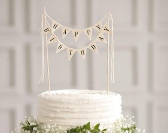 Happy Birthday Cake Topper Banner, Happy birthday sign, Cake bunting, Birthday Party