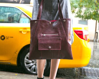 Burgundy Chic Briefcase - Laptop Tote Bag Washable Waterproof