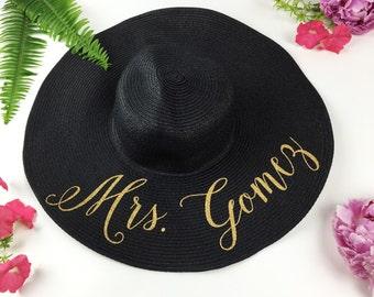 Custom Mrs Hat - Sequin Sun Hat - Bride Hat - Beach hat - Custom floppy hat - Bride to be hat - Beach Bride - Just Married Hat - Honeymoon