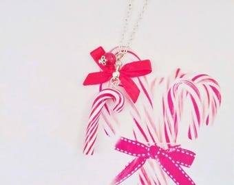 necklace christmas candy cane polymer clay