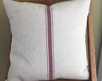 Grain Sack / Ticking Pillow Cover Red Stripe