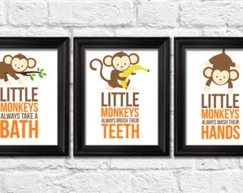 Attirant Little Monkeys Bathroom Rules, Monkeys Decor, Jungle Art Prints, Kids Wall  Art,