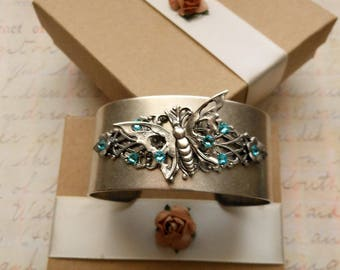 Silver Butterfly Bracelet, Aquamarine Swarovski Crystal Art Deco Adjustable Wristband, Unique Cuff Bracelets for New Mommy, Gift for Her