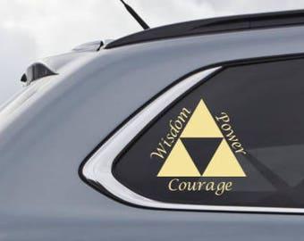 Triforce of Wisdom Courage Power (Legend of Zelda inspired) - Custom Vinyl Decal