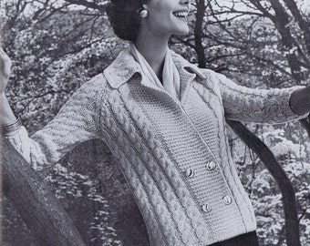 Cabled Double Breasted Cardigan Vintage Knitting Pattern PDF,  1950s