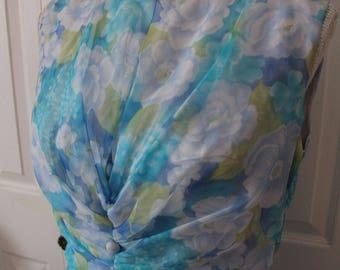 1960s Floral A-Line Chiffon Dress