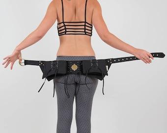 Steampunk Pocket Belt, Burning Man utility Belt, Festival Fanny Pack, Pixie Hip Bag, Psytrance Rave outfit, Canvas Hippy belt, Bum Bag UB17L