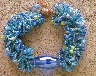 SALE  Loopy Loop Ocean Blue Seed Beads Bracelet with Large Crystal Centerpiece with Copper Clasp  Beadwork