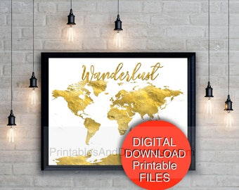 16x20 world map etsy printable wanderlust world map download gold world map a4 a3 5x7 8x10 16x20 11x14 gumiabroncs Gallery