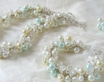 Sky Blue Robins Egg Pearl and Crystal Wedding Set, Aqua, Light Blue, Exclusive Bridal Jewelry, Sereba Designs