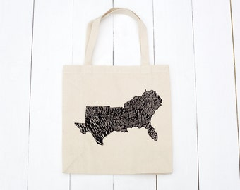 The South Tote Bag, Canvas Tote, Reusable Bag, Farmer's Market Bag, Screen Printed Tote