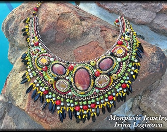 Seed Bead and Gemstone Embroidered Bib Necklace - Bead Embroidered Fringed Necklace - Beaded Necklace with Fringe - Summer Necklace