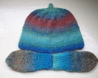 Baby hat mittens set boy girl knit multi fun by SpinningStreak