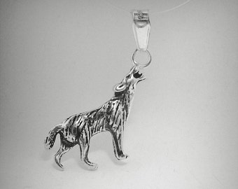 PE000855 Sterling Silver Pendant Charm Solid 925 Wolf