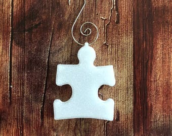 Autism Puzzle Piece 3D printed Christmas Ornament