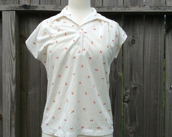 Vintage cap sleeved blouse collared FLORAL print Women's LARGE