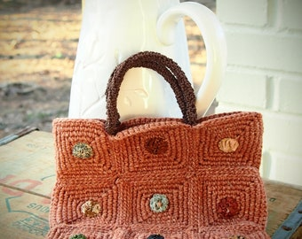 Crochet cotton and linen small handbag with vintage textile yo yos