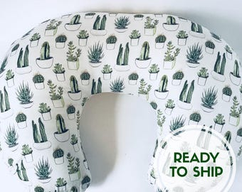 Succulent Boppy Cover // Ready to Ship // Succulent Nursing Pillow Cover