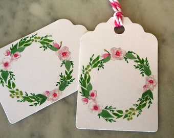 Spring gift tags, Easter, gift tags, Spring, Spring wreath gift tags, gift tags, watercolor Easter tags, Spring party favor tags